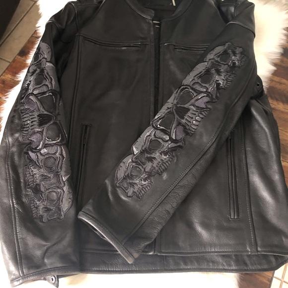 Street Legal Other - NWOT Street Legal Leather Jacket Skull Sleeves